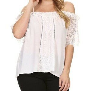 C.O.C. Lace Inset Off the Shoulder Top